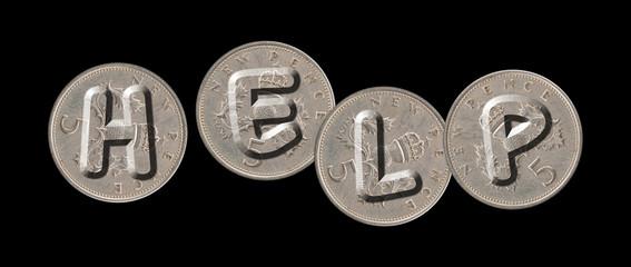 HELP – Coins on black background