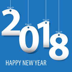 Happy New Year 2018 white number paper cut on blue background design for countdown holiday festival vector illustration.