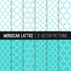 Turquoise Moroccan Lattice Seamless Vector Patterns. Set of 12 Modern Elegant Backgrounds. Classic Quatrefoil Trellis Ornament. Vector Pattern Tile Swatches Included.