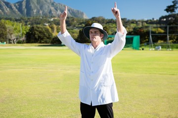 Low angle view of cricket umpire signalling six