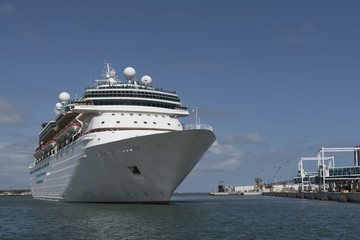A cruise ship entering an American port
