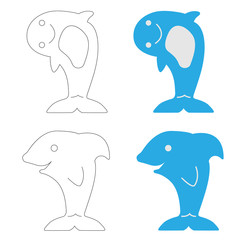 Children's illustration of the contours of sharks and an example of their simple coloring in two colors