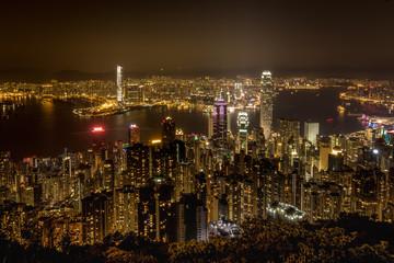 Hongkong bei Nacht - Blick vom Peak über die Großstadt, Asien