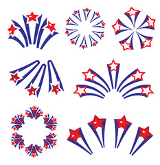 Fireworks, salute in traditional colors USA set of elements for your design. America s Independence Day, July 4, concept. Vector illustration