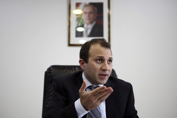 Lebanon's Minister of Energy and Water Gebran Bassil speaks during an interview with Reuters at his office in Beirut