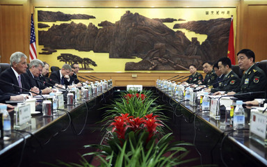 U.S. Defense Secretary Hagel and his Chinese counterpart Chang meet at the Chinese Defense Ministry headquarters in Beijing