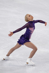 Korpi of Finland performs during the Ladies Free Skating program in the Bompard Trophy event at Bercy in Paris