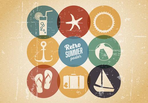 Retro Summer Icon Set