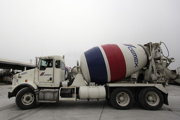 A concrete mixer truck of Mexican cement maker CEMEX, is seen at a concrete plant in Monterrey