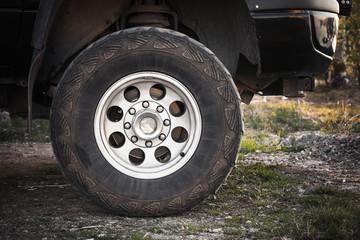 Close-up photo of SUV car wheel