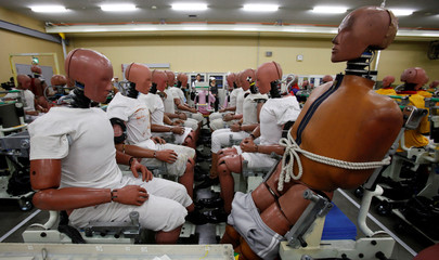 Toyota Motor Corp's crash-test dummies are pictured during Toyota Safety Technology Media Tour at the company's Higashifuji Technical Center in Susono