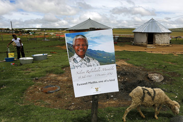 A woman stands in her garden behind a fence at the perimeter of former South African President Mandela's property in Qunu