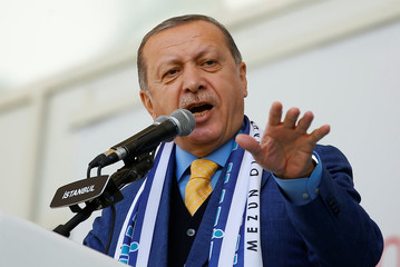 Turkish President Erdogan delivers a speech during a graduation ceremony at an Imam Hatip religious school association in Istanbul