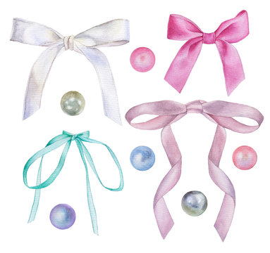 Set of watercolor illustrations of bows of satin ribbons and pearl beads of different colors