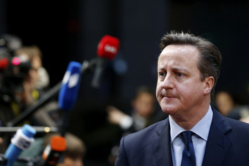 Britain's Prime Minister David Cameron arrives at a European Union leaders summit in Brussels