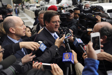Paul Demeester, attorney for suspended California State Senator Leland Yee, speaks with reporters outside the U.S. courthouse following a hearing in San Francisco