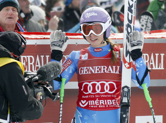 Maze of Slovenia reacts after clocking the best time in the Women's World Cup Super Combined Downhill skiing race in Meribel