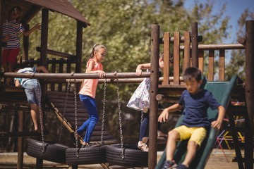 schoolkids playing in playground