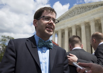 Bursch speaks to the media after arguments about gay marriage at the Supreme Court in Washington