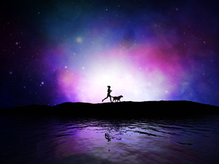 3D female jogging with dog against space sky