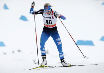 Kylloenen competes during the women's FIS Tour de ski cross-country skiing 5km individual free race in Toblach