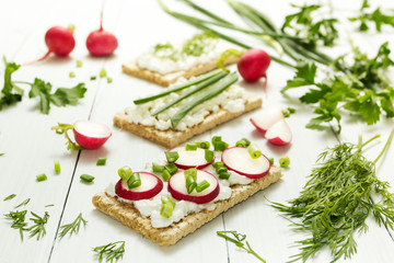 Fototapeta Light vegetarian lunch of raw vegetables with cottage cheese, herbs and radish on a white background. Healthy lifestyle, healthy eating. obraz