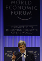 U.S. Secretary of State Kerry addresses a session at the annual meeting of the World Economic Forum (WEF) in Davos