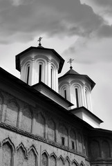 Orthodox Christian church black and white