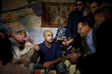 Uda Tarrabin speaks to the media after arriving home following 15 years in Egypt, in the Tarrabin tribe's village near Rahat in southern Israel