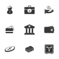 Simple icon set related to Money. White background