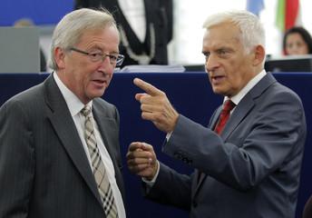 Eurogroup President Juncker talks to European Parliament President Buzek at the European Parliament in Strasbourg