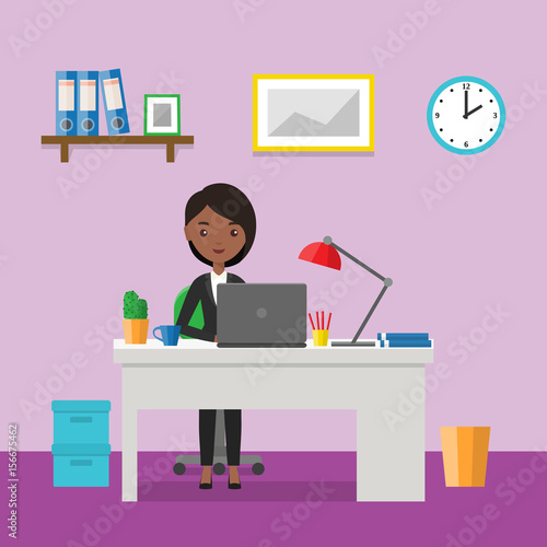 "Living Room Background Animated: ""Flat Woman Sitting At Desk. Workspace Or Home Workplace"