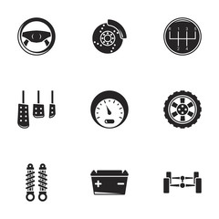 Icons for theme car details. White background
