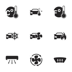 Icons for theme air conditioning. White background