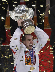 Czech Republic's Rolinek holds the trophy after winning their gold medal game against Russia at the Ice Hockey World Championships in Cologne
