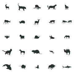 Animals silhouette icons set