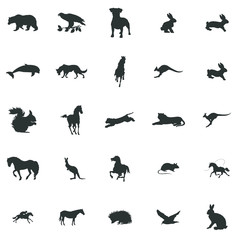 Animals silhouette icons set