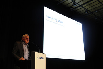 Swiss medical device company Synthes Chairman of the board Wyss speaks during the general shareholders meeting in Solothurn