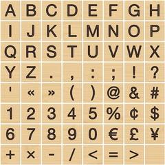 Latin/greek alphabet on wooden tiles (1/3)