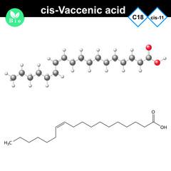 cis- Vaccenic unsaturated fatty acid molecule