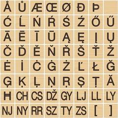 Latin/greek alphabet on wooden tiles (3/3)