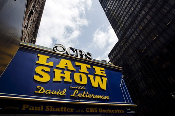 "A marquee for ""The Late Show"" with David Letterman stands outside of the Ed Sullivan Theater in Manhattan during taping of the final edition of the show in New York"