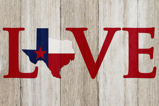 A rustic old Love Texas message