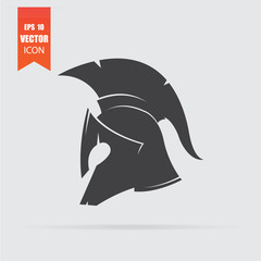 Spartan helmet icon in flat style isolated on grey background.