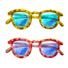 Cute watercolor Glasses colorful set illustration. Glasses icon set isolated. Glasses summer symbol. Glasses set for traveling design.