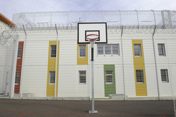 A basketball hoop is seen in the recreation area at the new penitentiary in Reau, near Paris