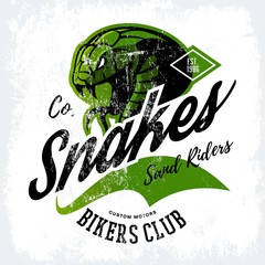 Vintage American furious green snake bikers club tee print vector design. Street wear mascot t-shirt emblem. Premium quality wild animal superior logo concept illustration.