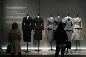 """Vintage dresses by designers Balenciaga, Christian Dior, Pierre Cardin and Jacques Fath are presented in the exhibition """"Les Annees 50, La mode en France"""" at the Palais Galliera  fashion museum in Paris"""