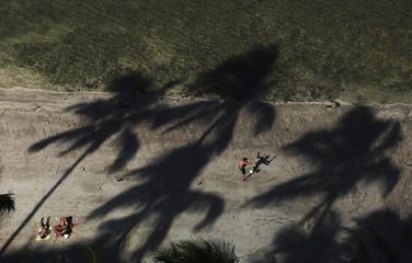 Women sunbathe as a man kicks a soccer ball in between shadows of palm trees on Boa Viagem Beach in Recife