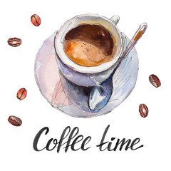 """The coffee cup with beans and lettering """"Coffee time"""" isolated on white background, watercolor illustration in hand-drawn style."""